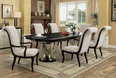 "Shop the 106"" Abela Espresso Silver Dining Table with Extension featuring a two tone pedestal dining set with 6 chairs"
