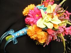 Orchid Rose Hibiscus Calla Lily Bride Wedding Bouquet. 3 piece set. Purple Malibu Turquoise Tiffany Blue Orange Pink Yellow Coral Lime on Etsy, $84.00