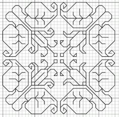 Blackwork flowers, motif and fill
