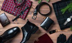 sesja świąteczna, koszula w kratę, zagrek męski, portfel męski, sztyblety, rękawiczki, szalik w kratę Adidas