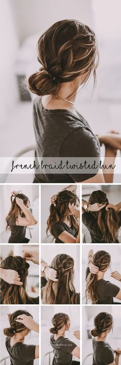 Awesome Beautiful french braid twisted bun up-do hairstyle. Perfect dressed up for holiday parties or paired with your sweatshirt and sneakers!  The post  Beautiful french braid twisted bun up- ..