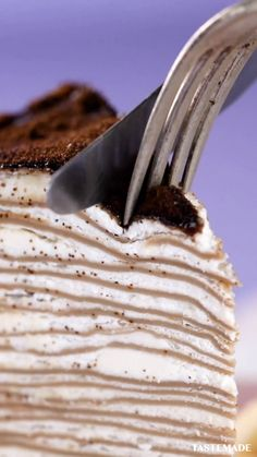 When you can't decide between two classic desserts, make a tiramisu crepe cake! # Desserts for two Simple Tiramisu Crepe Cake Dessert Cake Recipes, Köstliche Desserts, Tea Recipes, Baking Recipes, Delicious Desserts, Yummy Food, Dessert Food, Sweet Recipes, Classic Desserts