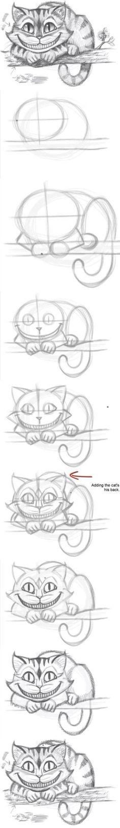 Cómo dibujar el gato de Cheshire por usefuldiy::) #Drawing #Cheshire_Cat por LisaDB