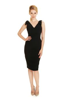 Ava Black Luxe Crepe Pencil Dress - view 3