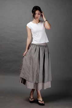 Floral design linen grey skirtmore colour and size by thesimpson. $58.00, via Etsy.