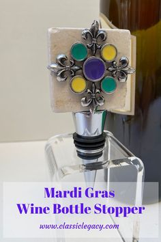 The Classic Legacy Mardi Gras marble wine bottle stopper features a large chunk of marble embellish with silver fleur de lis and enameled circles of green, yellow, and purple.  This colorful stopper is the perfect Mardi Gras gift. Mardi Gras, Custom Wine Bottles, Wine Carrier, Wine Bottle Stoppers, Wine Charms, Customized Gifts, Circles, Wine Glass, Initials