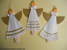 The class teacher Valentina: angel Preschool Christmas Crafts, Christmas Angel Ornaments, Christmas Crafts For Kids To Make, Crafts For Girls, Christmas Projects, Kids Christmas, Christmas Decorations, Nursing Home Crafts, Crochet