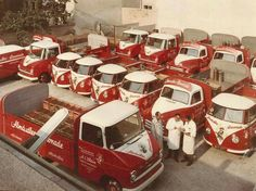 Lots of red and white Volkswagen Transporter, Vw Volkswagen, Volkswagen Bus, Vw T1, Vw Camper, American Auto, American Classic Cars, Old Vintage Cars, Vintage Trucks