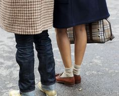 If you look closely, those antique brown loafers are TDF! With the skirt, socks and Burberry bag!
