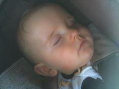 Little Max, asleep during a drive.