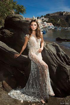 julie vino fall 2017 bridal cap sleeves illusion jewel neckline full embellishment elegant beautiful sheath wedding dress illusion back chapel train (1205) mv