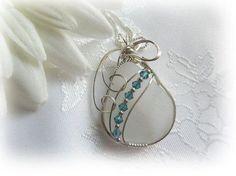 White Wire Wrapped Sea Beach Glass Sterling Silver by Castawayz, $64.00