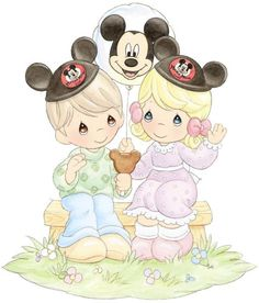 Precious Moments Graphic: Young couple sporting Mouse Ears, a Mickey Mouse balloon, and sharing a Mouse ice cream