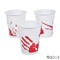 These Bloody Handprint Disposable Cups give guests more than the expect when they reach for the punch bowl at your Halloween party! Look through our entire ...