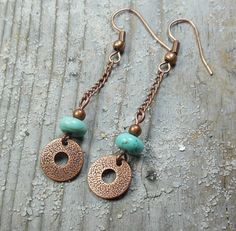 turquoise howlite stone, antique copper,  dangle earrings by MySoulCanDance #jewelry