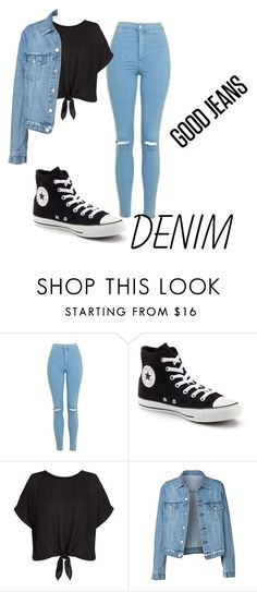 """Denim"" by perfectjackbgg ❤ liked on Polyvore featuring Topshop, Converse, New Look and Denimondenim"