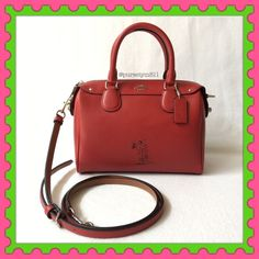 """Authentic Coach Limited Edition Leather Handbag % AUTHENTIC ✨ Gorgeous limited edition leather handbag from Coach Length 9 1/2"""" Height 6 3/4"""" Width 5"""" w/ adjustable & detachable long strap! Very versatile! Crossbody, shoulder & top handle bag Color: Red❤️ with silver tone hardware. 2 interior pockets. Bottom feet for protection. NO TRADE  FINAL PRICE ‼️ Coach Bags Satchels"""