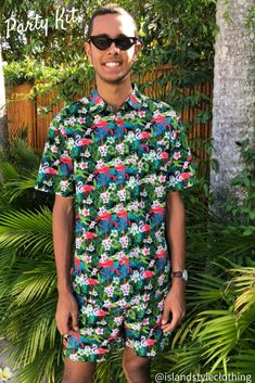 Flamingo Friday Cotton Mens Hawaiian Shirt and Shorts aka Cabana Set - pub, club, festival or just coz you love flamingos. Go matching with your mates. #cabana #hawaiianstyle #partykit #partytux #hawaiianshirtandshorts #hawaiianset #flamingoparty #flamingoshirt #flamingoshorts