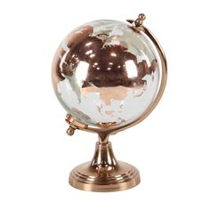 Copper hues show off the continents in gleaming detail on the DecMode Modern Colored Glass and Aluminum Globe - Copper . This globe is crafted from elegant. Glass And Aluminium, Copper Glass, Desk Globe, Globe Art, World Globes, Copper Material, Home Decor Outlet, Colored Glass, Accent Pieces