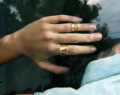 These gold-plated cutout rings prove the positive impact of negative space. #etsyjewelry