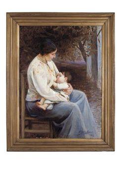 """""""Maternidad"""" Benito Rebolledo Correa, 1.880-1.964 Chile"""