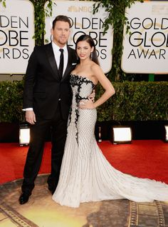 Jenna Dewan Hits Her First Potbaby Red Carpet With Channing: Channing Tatum may have skipped the People's Choice Awards on Wednesday, but he made sure not to miss the Golden Globes in LA on Sunday.