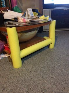 baby proof! 99 cent pool noodle to cover old shower door frame