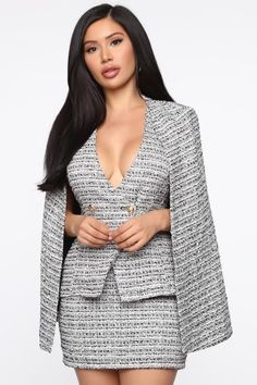 Meet at the met tweed cape set - black/white Black White Fashion, Black Women Fashion, Womens Fashion, Office Dresses For Women, Clothes For Women, Classy Outfits, Stylish Outfits, Work Fashion, Fashion Outfits