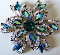 WEISS BROOCH Gold Tone w Green / Blue Aurora Rhinestones Star Vintage Costume Jewelry Pin Swarovski Crystals FOR SALE on Etsy by pegi16