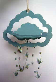 Origami Hanging Mobile  Handmade 3D Cloud Paper by Katie1804, £15.00