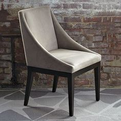 Dining room chair - Curved Upholstered Chair  Dove Gray