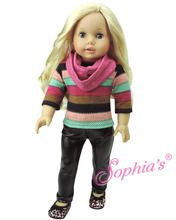 """Stretch Leather Pants , Stripe Tunic Sweater & Infinity Scarf fits American Girl 18"""" Doll"""