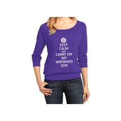 Supernatural Inspired Clothing Keep Calm & Carry on My Wayward Son... ($24) ❤ liked on Polyvore featuring tops, black, women's clothing, vinyl top, black top, shirts & tops, 3/4 sleeve raglan shirt and pattern shirts