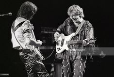 Trevor Rabin and Chris Squire of Yes perform on stage at Ahoy, Rotterdam, Netherlands on 1st July 1984.