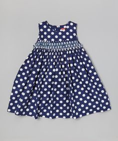 Lily Blue Girls Size 4 Navy Blue White Polka Dot Lace Adorable Flare Dress Clothing, Shoes & Accessories