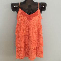 RUFFLED TOP This skinny strapped ruffle top is in a vibrant burnt orange. Adjustable straps. Crocheted  neckline adds a  special touch. Never worn! smoke-free Mudd Tops