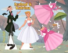 Ichabod Crane and Katrina paper dolls by Cory Jensen Paper Doll Craft, Paper Toys, Paper Crafts, Papercraft Anime, Imprimibles Toy Story Gratis, Disney Paper Dolls, Princess Crafts, Paper Dolls Printable, Disney Coloring Pages