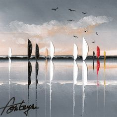 La voile rouge Boat Painting, Knife Painting, Art En Ligne, Abstract Photography, Cool Art, Sailing, Abstract Art, Watercolor, Fine Art