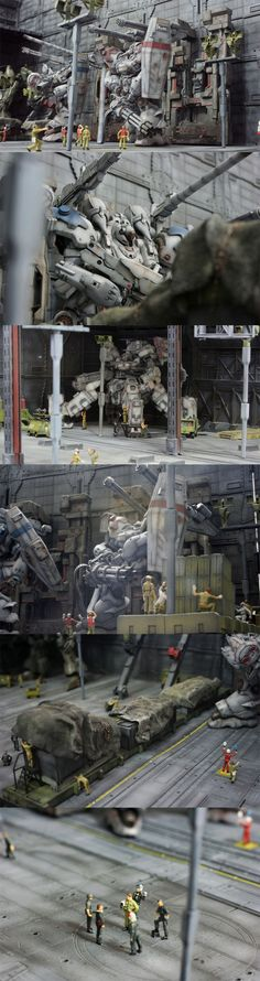 Diorama de 变异猫球. : (Note: I'm pretty sure some of these are Armored Core, but they definitely have Gundam shields...)