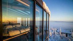 Maailman neljänneksi romanttisimmaksi valitun Hotelli Iso-Syötteen Kotkanpesä-sviitin ikkunoista aukeaa upea maisema.