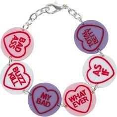 Love Hearts Bracelet ❤ liked on Polyvore featuring jewelry, bracelets, hearts, heart shaped charms, bracelet jewelry, chunky chain bracelet, laser cut jewelry and charm bracelet bangle
