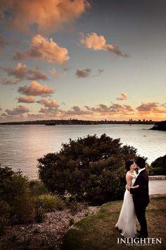 Sergeants Mess - Inlighten Photography-  Wedding portrait under romantic and vibrant sunset. Outdoor reception portrait ideas.