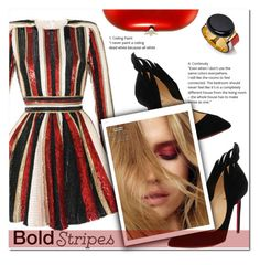 """""""Bold Stripes"""" by rocio-martinez-1 ❤ liked on Polyvore featuring Christian Louboutin, Jeffrey Levinson and BoldStripes"""