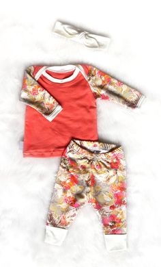 Coming Home Outfit Baby Girl Floral and Coral by brambleandbough