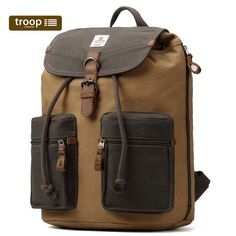 TRP0417 Troop London Heritage Canvas Leather Backpack, Canvas Leather Smart Casual Daypack, Tablet Friendly Backpack ║ H38 x W33 x D16 cm