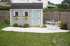 She Shed: DIY Gravel Patio to do for our shed makeover= paint our shed, flower boxes on shed, pea gravel patio lined with grey bricks. plant roses with a trellis to climb up shed and lots of hydrangeas! put a firepit and chairs on the patio. Shed Landscaping, Backyard Sheds, Outdoor Sheds, Backyard Playground, Shed Makeover, Backyard Makeover, Shed Paint Colours, Brick Shed, Painted Shed