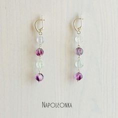 Long Earrings Natural Fluorite Stylish Minimal Light Sterling Silver Woman Girl Gems Insect Gem jewelry Gemstone jewelry Earrings by Napoleonka on Etsy