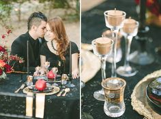 Greek Mythology Halloween Wedding Inspiration. Usually I cringe at the thought of Gold being used in any color scheme of mine but this is subtle and tasteful, I rather like it.