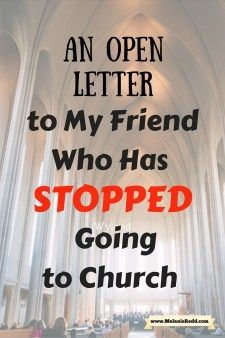 Have you stopped attending church? Maybe you got hurt or maybe you just got out of the habit of going? This letter is written to you - to invite you to come back. No matter what has happened to you, we still need you in the church and you still need us. R
