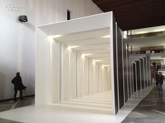 """Hooked Up"" by lighting designer Dean Skira was created in collaboration with iGuzzini to create a special linear effect once inside the structure."